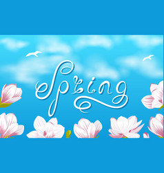 Spring background with beautiful magnolia flowers vector
