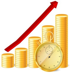 stopwatch with coins and arrow vector image