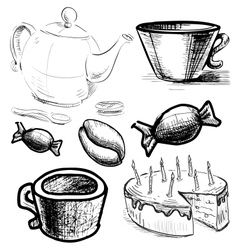 Tea and coffee stuff icons set vector image