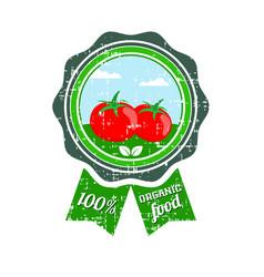 tomato label vegetable logo retro sticker of vector image