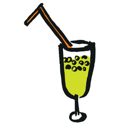 wineglass with straw vector image
