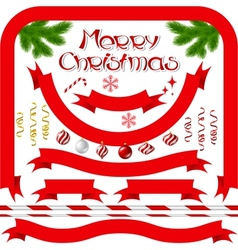 Ribbons and banners with Merry Christmas vector image vector image