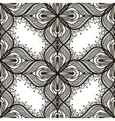 Black lace floral seamless pattern on white vector