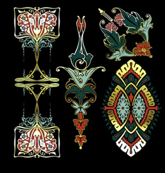 Color On Black Ornaments vector image vector image