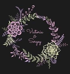 Floral wreath on the dark background vector image