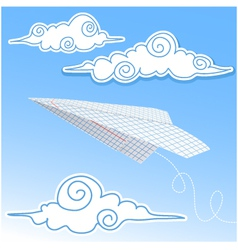 Paper airplane in the sky with paper decorative cl vector image vector image