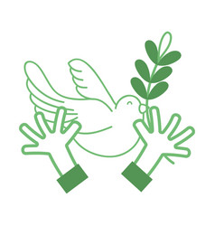 silhouette hands with dove animal and branch with vector image vector image