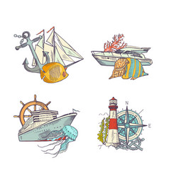 sketched sea colored elements piles set vector image vector image