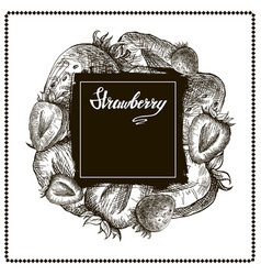 strawberry banner hand drawn vector image