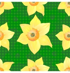Daffodils on a Beautiful Green Background vector image