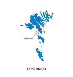 Detailed map of Faroe Islands and capital city vector image
