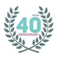 Template Logo 40 Anniversary in Laurel Wreath vector image vector image