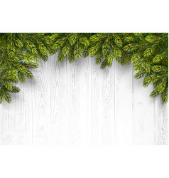 Wooden Background with Fir Branches vector image vector image