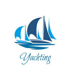 yacht or sailboat icon for yachting club vector image vector image