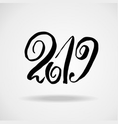2019 modern dry brush lettering grunge happy new vector image