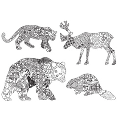 A set of drawings of animals in the ethnic vector