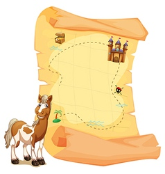 A treasure map beside the smiling horse vector