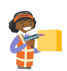 African warehouse worker scanning barcode on box vector