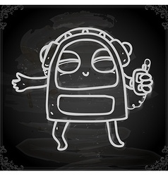 Alien Listening to Music Drawing on Chalk Board vector