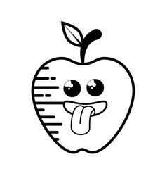 Apple fruit cartoon smiley vector
