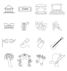 Art Culture icons set thin line style vector image
