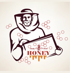beekeeper stylized symbol honey concept vector image