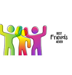 Best friends card colorful stick figure people vector