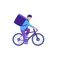 Bike courier delivers corporate gifts large bag vector