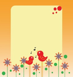 birds and flowers note vector image