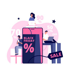 black friday online shopping man girl people vector image