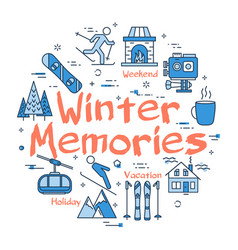 blue winter memories concept vector image