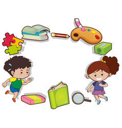 border design with kids and stationeries vector image