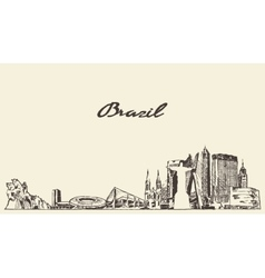 Brazil skyline drawn sketch vector image