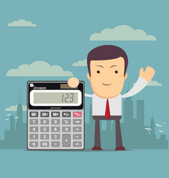 businessman or accountant is showing a calculator vector image