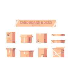 cardboard boxes delivery packages shipping vector image