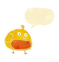Cartoon fat bird with speech bubble vector