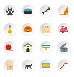 Cat care tools icons set in flat style vector