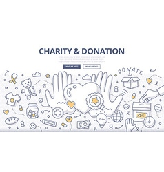 Charity Donation Doodle Concept vector