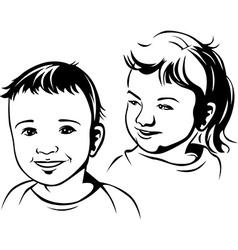 Children- black outline vector