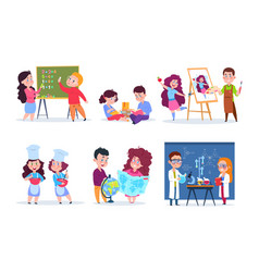 children in lessons school kids studying vector image
