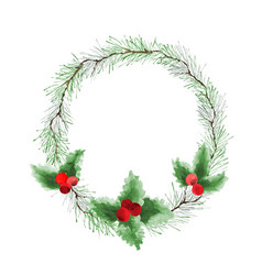 christmas wreath watercolor with pine green vector image