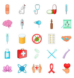Clinic icons set cartoon style vector