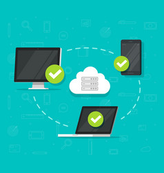 cloud network connection between devices vector image