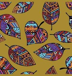 Colored ethnic mexican leaf seamless pattern pr vector image