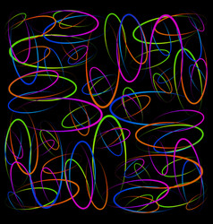 colorful glowing circles on a black background vector image