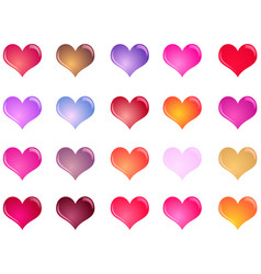 Colorful shiny hearts collection vector