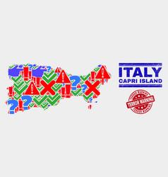 Composition capri island map symbol mosaic and vector
