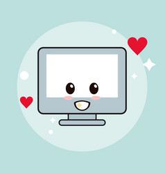 computer kawaii cartoon happy cute icon vector image