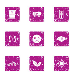 Contamination icons set grunge style vector