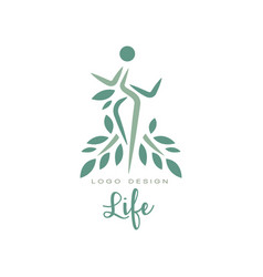 creative life emblem template with leaves and vector image